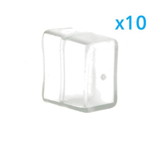 10 PZ Gommini PVC Termine Morbida 15X9 mm Per Chiusure Striscia Bobina Led Impermeabile