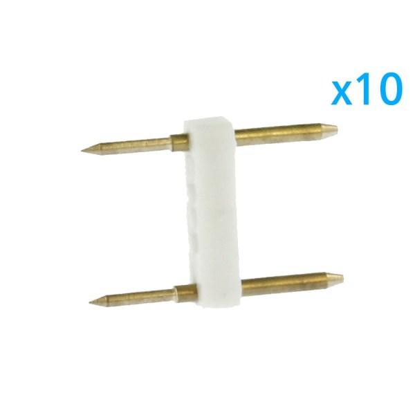 10 PZ Spina Da 2 Pin Passo 13,5mm Per Connessione Bobina Striscia Led Mono Colore Da 220V Con Alimentatore Trasformatore Raddrizzatore
