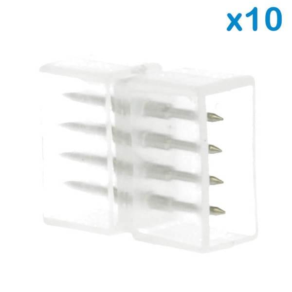 10 PZ Connettore Da 4 Pin RGB Passo 12mm Per Unire e Allungare Bobina Led RGB 220V