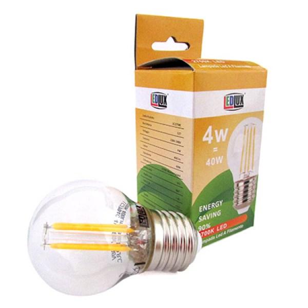 Stock 4 Lampade Filo Led a Filamento Zaffiro Sintetico E27 G45 4W 360 Gradi Bianco Caldo 2700K Bulbo Piccolo Sfera