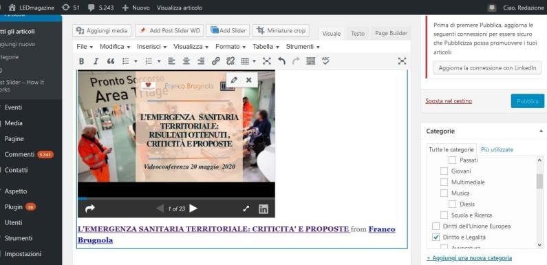 Dalla videoconferenza del 22 maggio 2020 le slides della relazione Brugnola