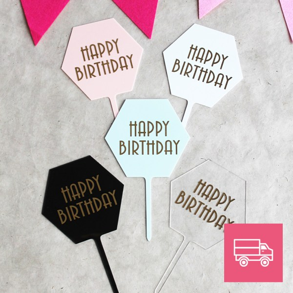 LE-DOUX-FRUIT-PATISSERIE-ARTISANALE-_-CAKE-TOPPER-Hexagonale- Happy-Birthday-FRANCE