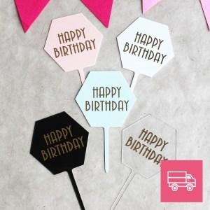 LE-DOUX-FRUIT-PATISSERIE-ARTISANALE-_-CAKE-TOPPER-Hexagonale- Happy-Birthday-FRANCE