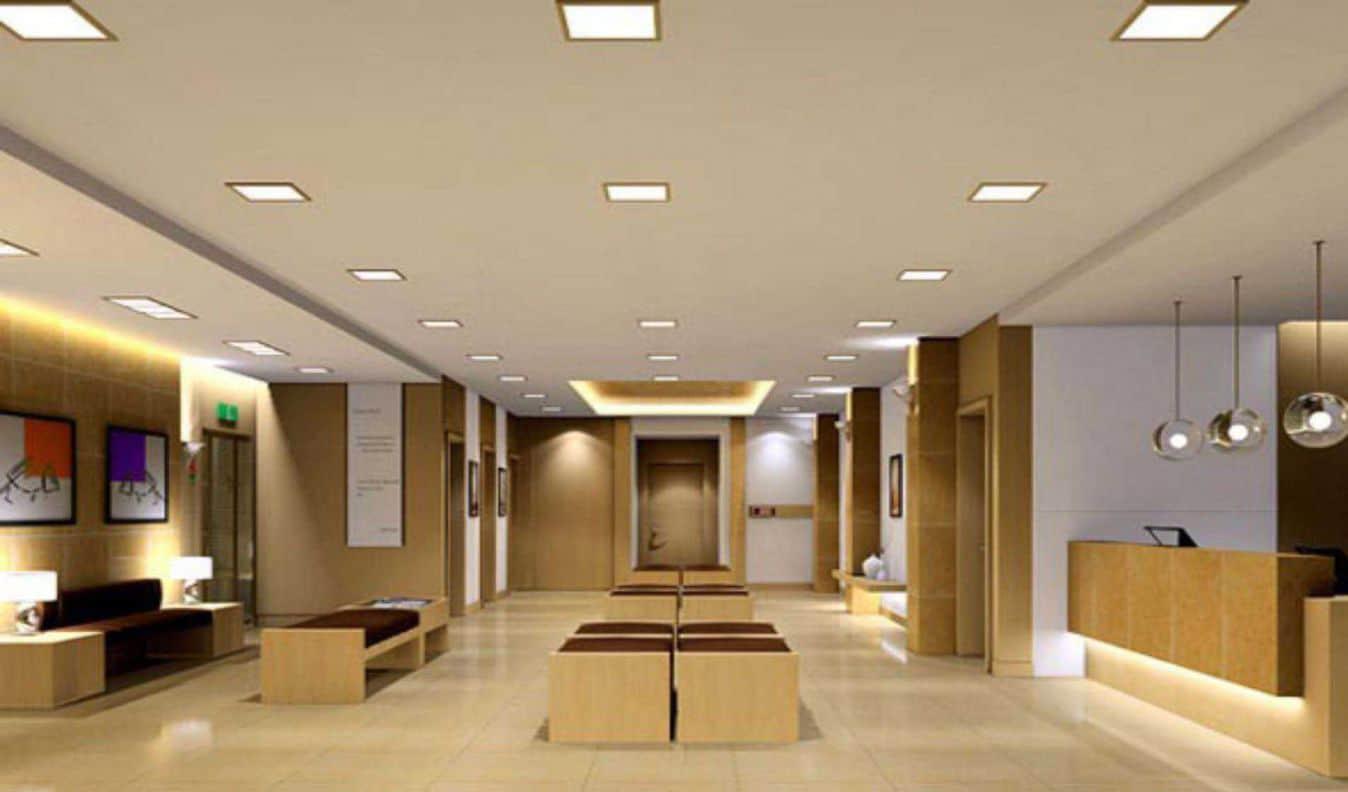 Painel de LED Quadrado em Sala de Espera
