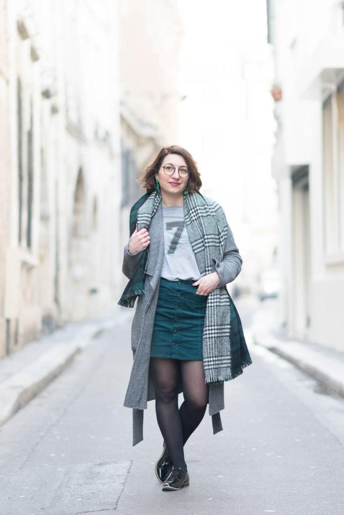 paris, blog, mode, fashion, vert bouteille, jupe velours, blogueuse, gris
