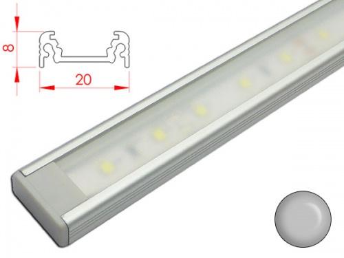 reglette led plate 20x8mm couleur alu alimentation 12v