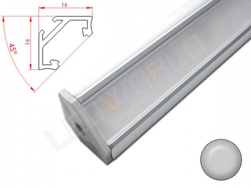reglette led inclinee 45 16x16mm aluminium alimentation 12v