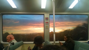 Sunset on the train