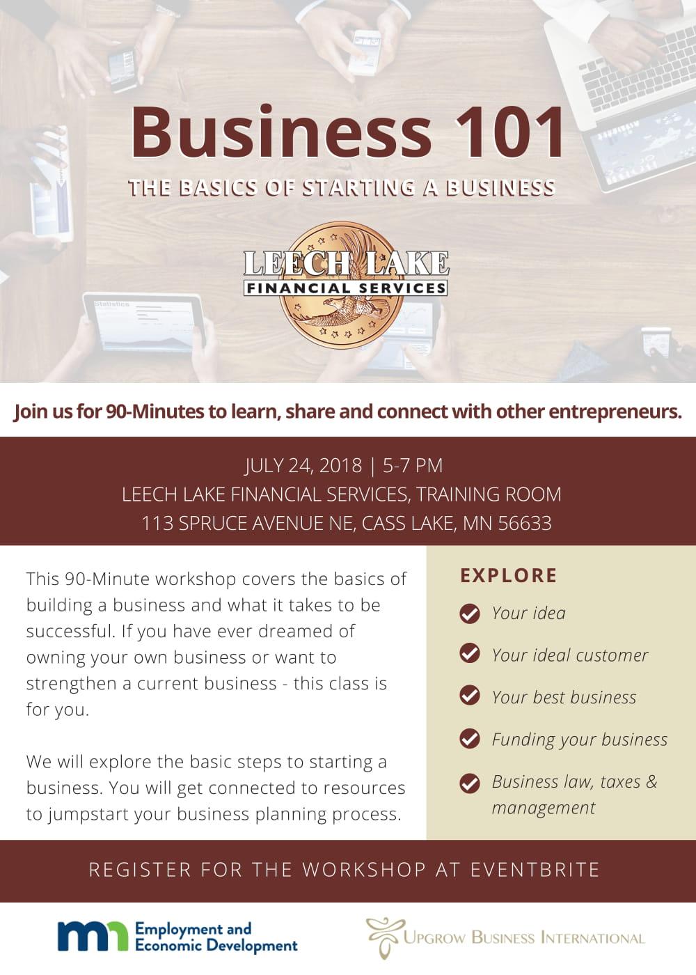 Business 101 Workshop Leech Lake News