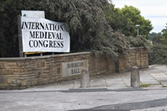 Entrance to Bodington Hall, University of Leeds, adorned with banner for the 2012 International Medieval Congress