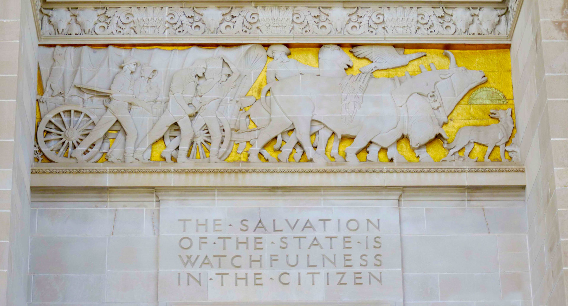 The Spirit of the Pioneers on the North Portal of the Nebraska State Capitol