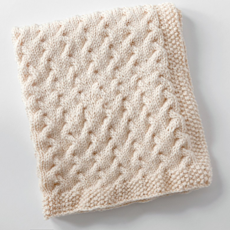 Tiny Ripples - An Easy FREE Cable Baby Blanket Knitting Pattern