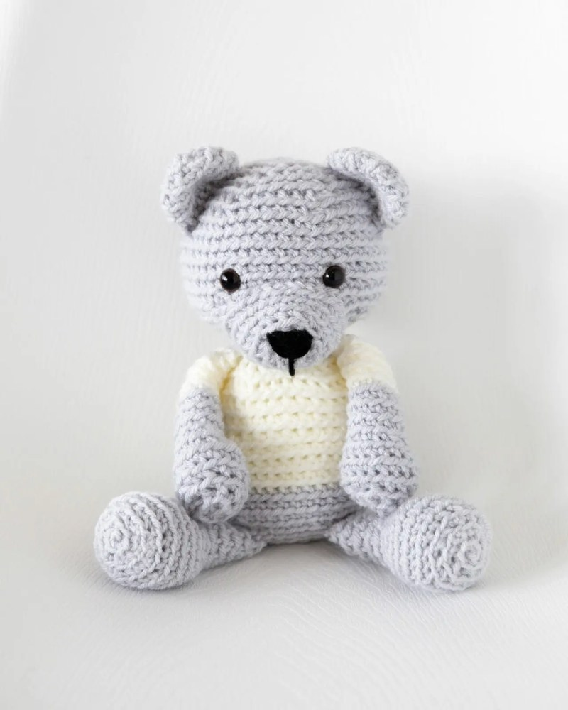 Crochet teddy bear free pattern leelee knits secure with a knot and use the crochet hook to pull the loose end of yarn into the inside of the muzzle to hide it bankloansurffo Choice Image