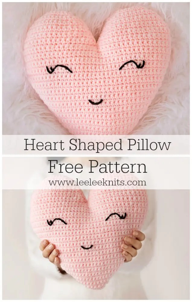 Heart Shaped Pillow Crochet Pattern - Leelee Knits