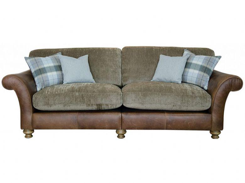 longrow 4 seater leather and fabric sofa