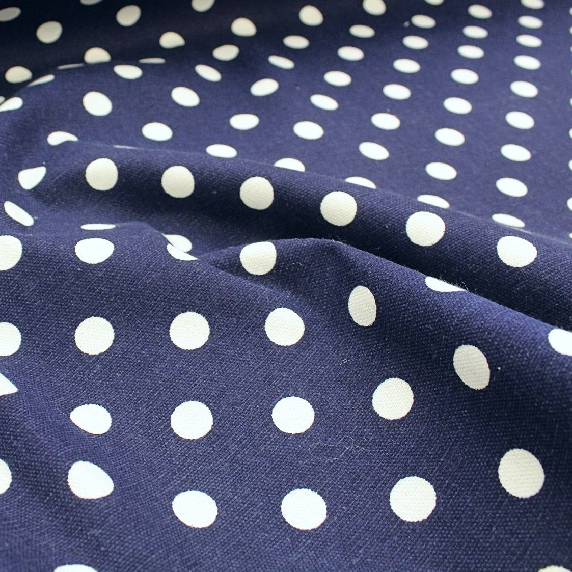heavyweight cotton curtains soft furnishings fabric white spots on navy blue