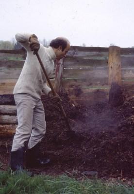 Compost, me turning, slab bin