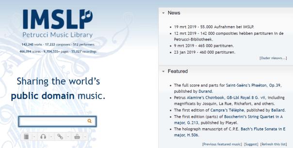 IMSLP, gratis piano bladmuziek