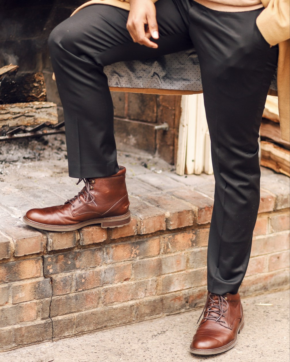 brown leather boots outfit for men