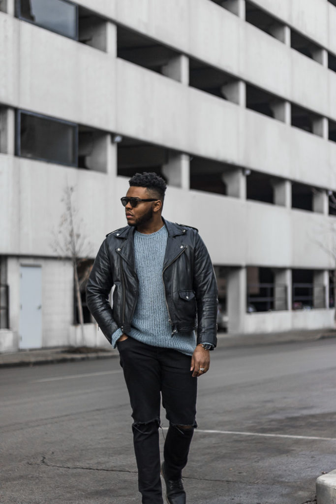 ASOS Open Stitch Sweater with Biker Jacket Outfits