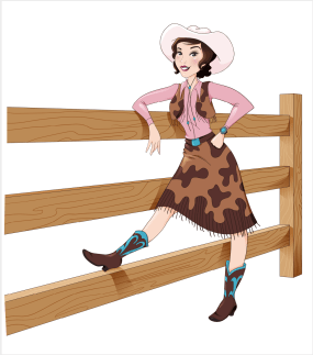 colored illustration 1950s cowgirl