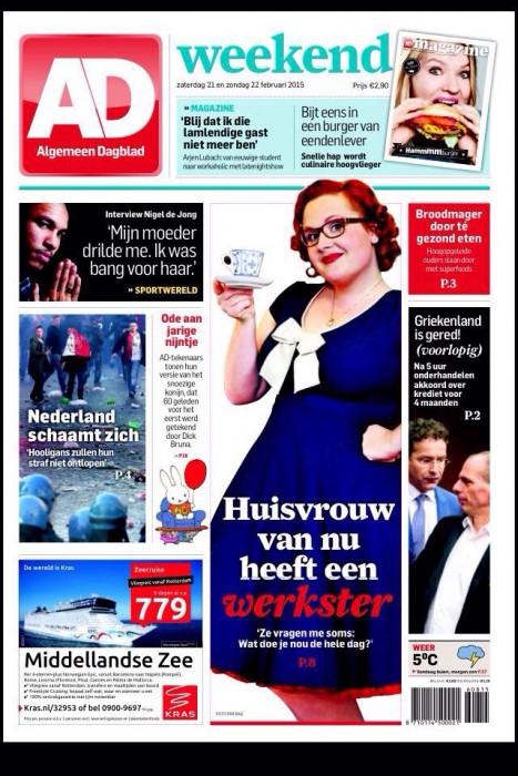 voorpagina Algemeen Dagblad 21 februari