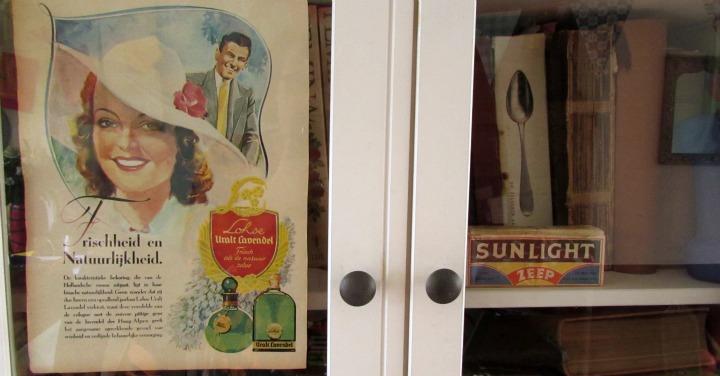vintage reclame en sunlight zeep in kast leesvoer