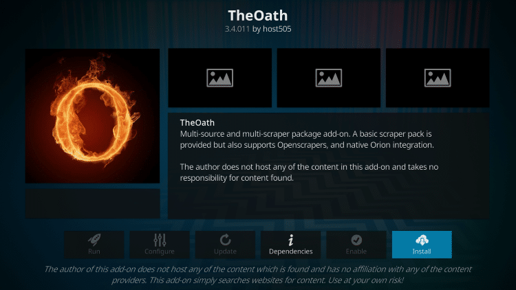 how to install the oath kodi 19