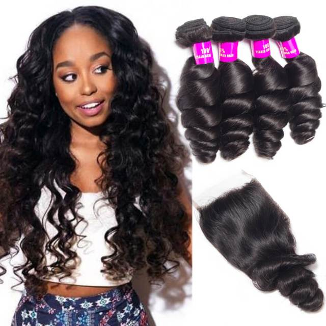 peruvian loose wave virgin hair with closure unprocessed peruvian human hair 3 bundles with lace closure loose wavy remy hair weave