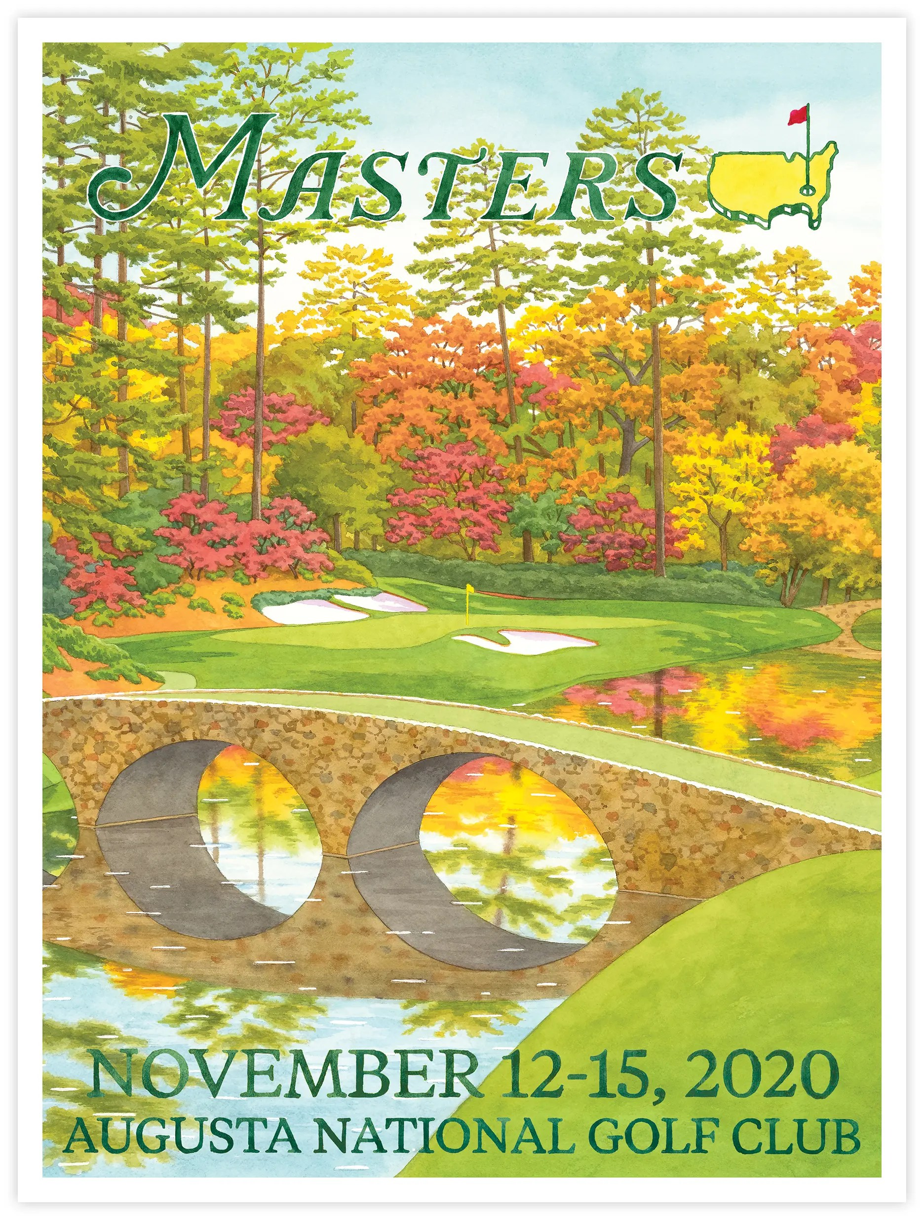 2020 the masters poster print wrapped canvas