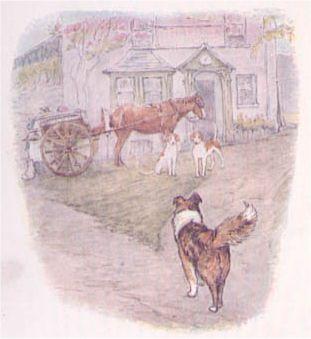 Cuccioli per caccia alla volpe davanti al pub