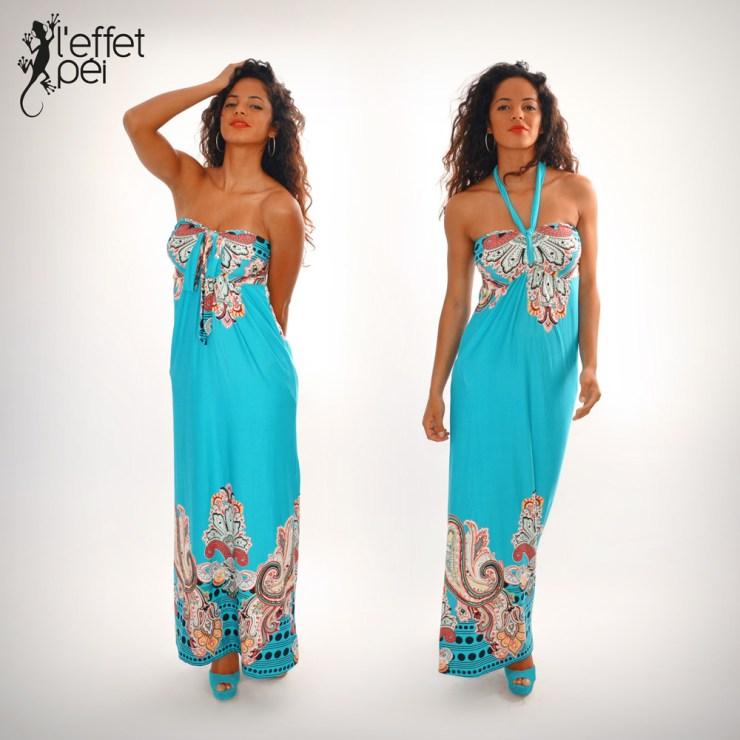 Robe longue Indi - Bleu