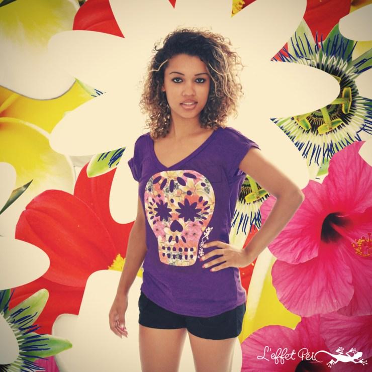 T-shirt tête de mort fleurie