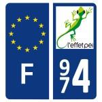 Stickers 974 - Plaque d'immatriculation - Logo L'effet Péi