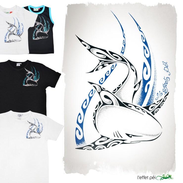 T-shirts Requin Nezien - Adulte et enfant - noir et blanc - L'effet Péi Réunion Island