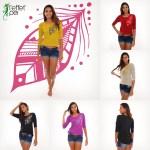 T-shirt femme manches 3/4 - Plumes couleurs