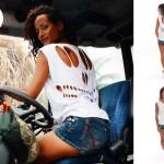 T-shirt femme Skeleton - short jean - Tracteur Cannes sucre - île de la Réunion