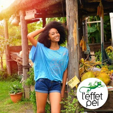 T-shirt femme Insisty Bleu - Boutique de fruits - île de la Réunion