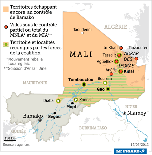 carte situation mali