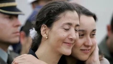 Ingrid Betancourt, hier à Bogota, heureuse de retrouver sa famille