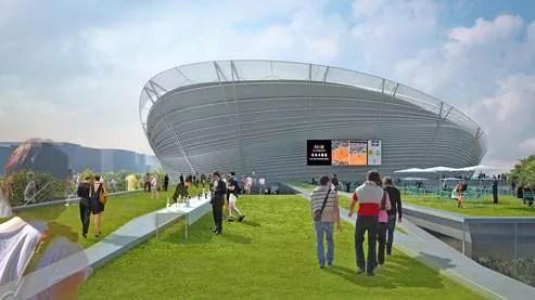 Le projet de Marc Mimram prévoit un stade de 15.000 places avec un toit rétractable (illustration : Arte Factory).