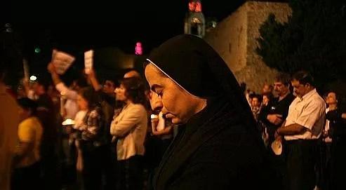 Une veillée organisée par les chrétiens de Bethléem, en mémoire du massacre dont ont été victimes ceux de Bagdad.