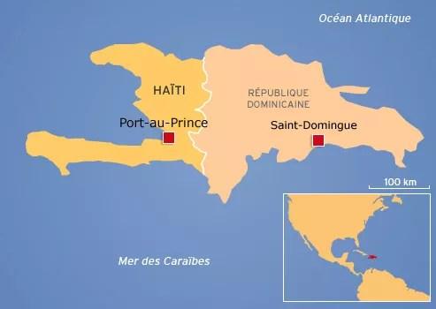 En 1814, l'île est divisée entre Saint-Domingue à l'est et Haïti à l'ouest.