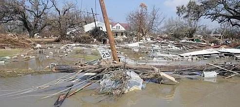La ville de Cameron, aux États-Unis, après le passage de l'ouragan Rita, en 2005.