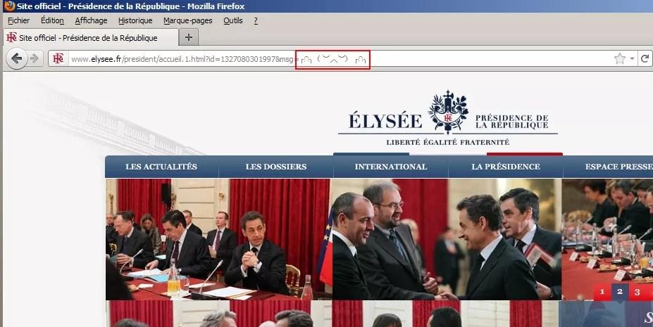 Capture d'écran du site de l'Élysée, avant sa fermeture.