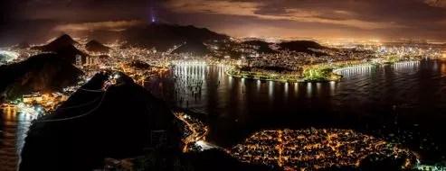 Le front de mer de Rio, vu du Pain de Sucre.