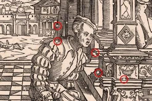 «L'Homme riche». Cette gravure de Cornelis Anthonisz (1541) est ponctuée de nombreux petits trous, dont certains ont été marqués en rouge. (Rijksmuseum, Amsterdam)