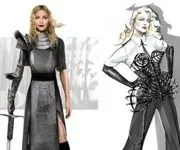 Madonna façon Jeanne d'Arc dans un costume incrusté de cristaux Swarovski (à gauche), et dans sa tenue «Vogue» réactualisée par Jean-Paul Gaultier. (© Courtesy Photo WWD)