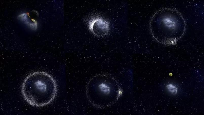 Principe de formation de la Lune dans le cadre des scénarios d'impacts géants. (Crédits photo: Bernard Foing/ESA/Medialab)