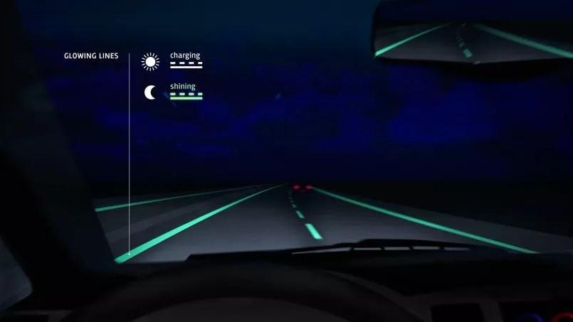 La route lumineuse mise au point par le studio Roosegaarde aux Pays-Bas.